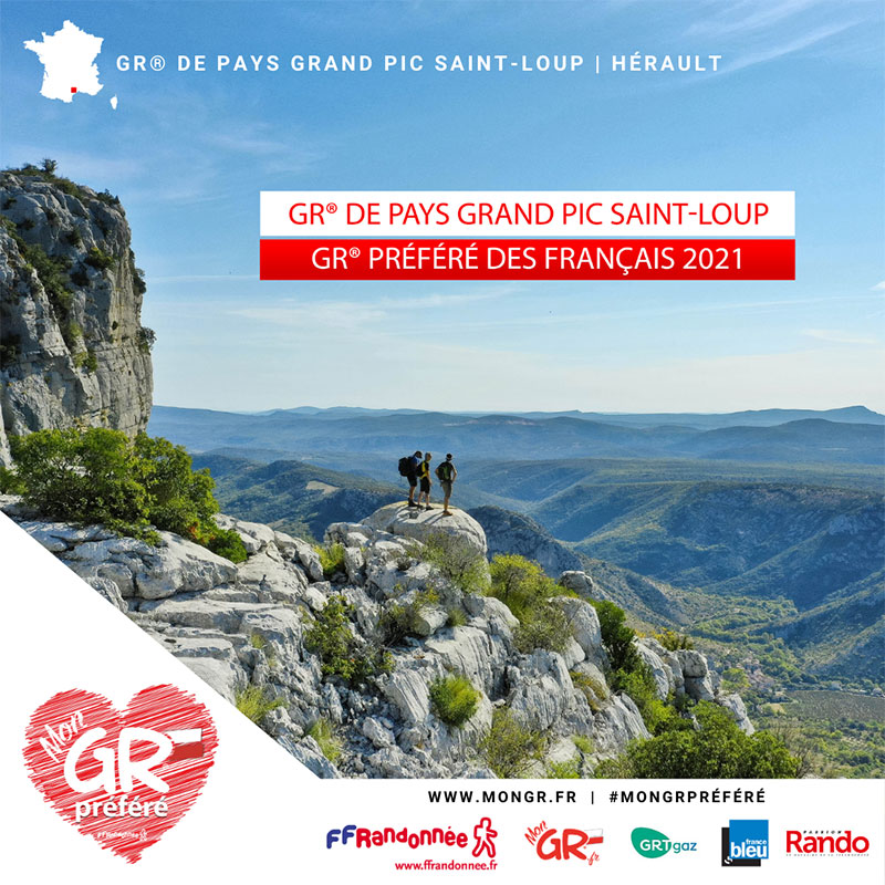 GR® de Pays Grand Pic Saint-Loup, sentier de Grande Randonnée élu GR® préféré des Français 2021.
